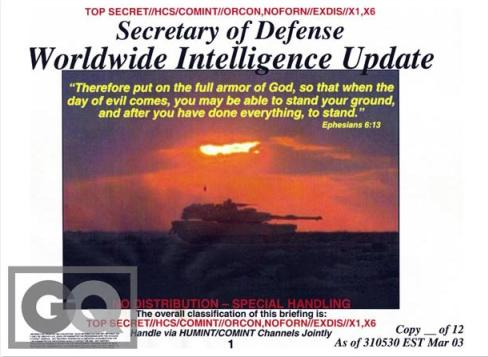 Secretary of Defense Worldwide Intelligence Update (credit: GQ)