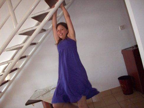 Katie swings!