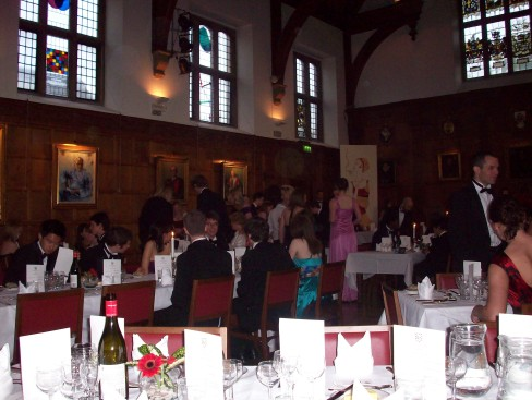 The dining hall, ready for a five-course feast
