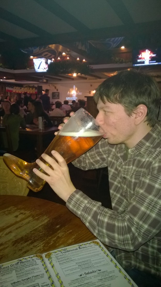 Drinking out of a boot