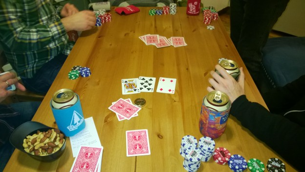 Simulated gambling during rehearsals for a play