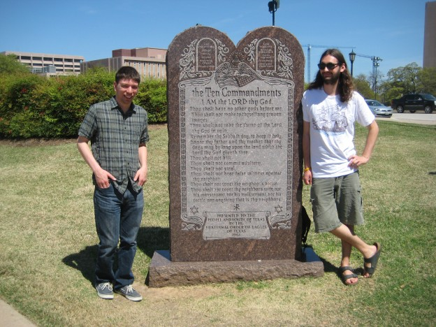 Somewhat awkward with the Ten Commandments outside the capitol