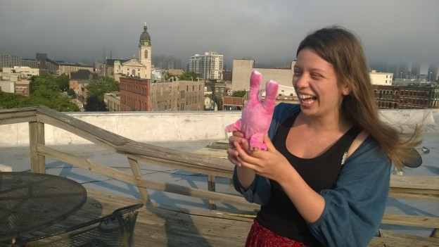 With a retired ex-raver pig on the roof