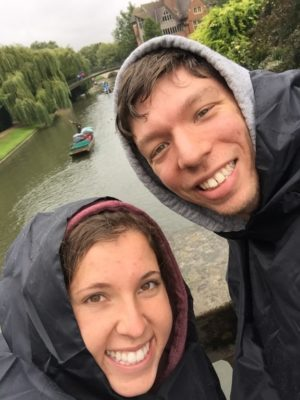 Most photos of us in Cambridge feature rain and ponchos