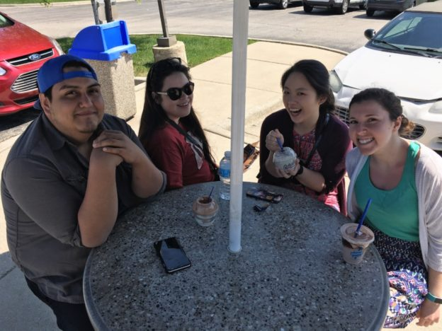 Rudy, Amanda, Melissa and Randi on a Culver's stop
