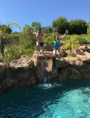 Jumping into the best garden pool you've ever seen