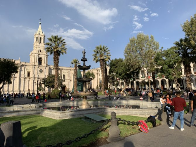 The peaceful main square of Arequipa