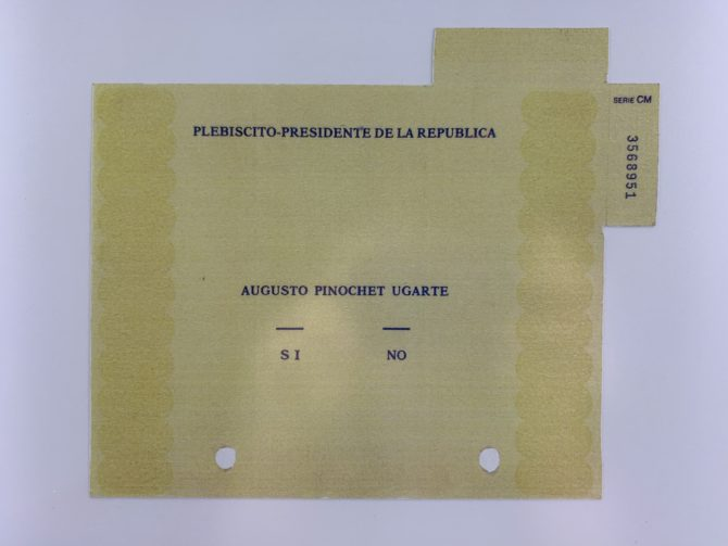 A ballot from Chile's 1988 referendum on Pinochet's continuing rule