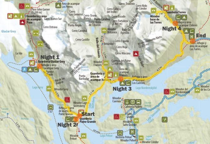 Our route along the W trek