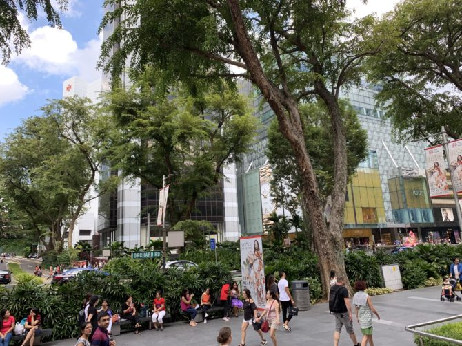 Orchard Road, the main shopping street. Imagine if Oxford Street was so green?