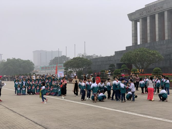 School groups outside the mausoleum