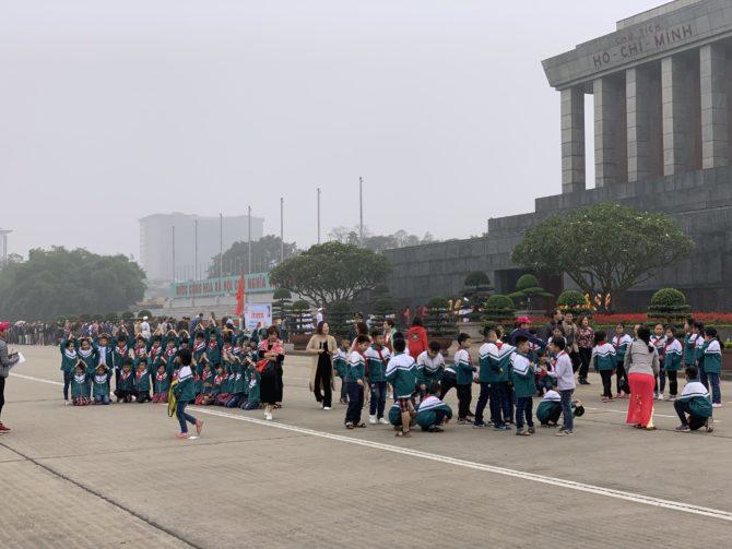 School groups outside the mausoleum
