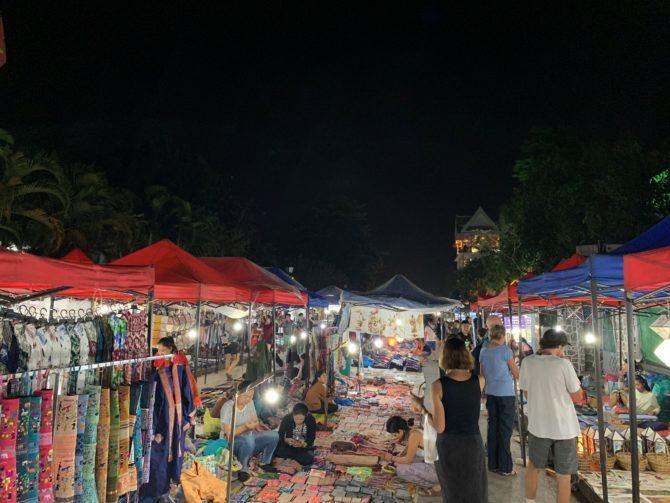 The pleasantly calm night market, closed off to most traffic other than an occasionally bold motorcycle
