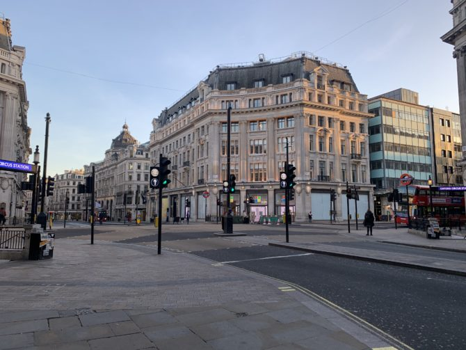 An almost-empty Oxford Circus