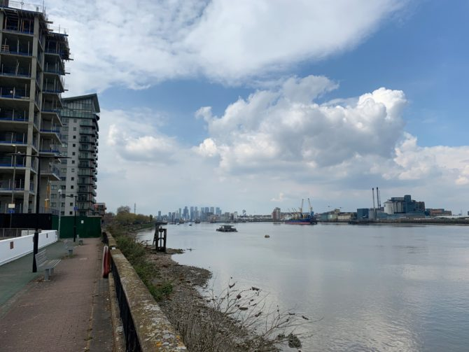 We start along the Thames Path...