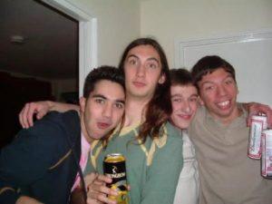 Age 17 with Fabio, Josh and Robert at Catherine's 18th Birthday