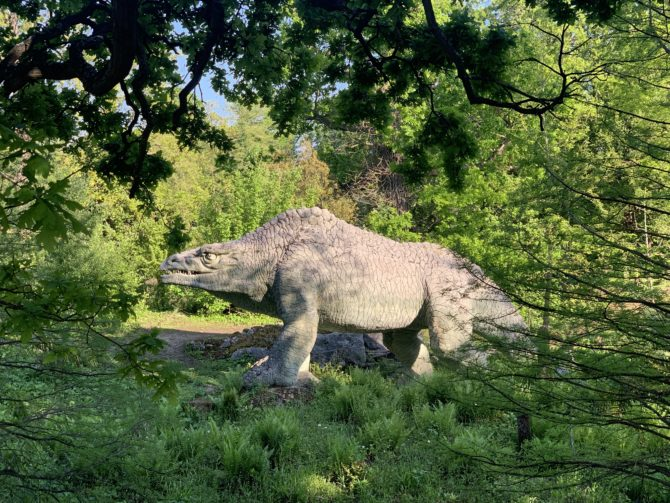 One of the famous dinosaurs in Crystal Palace Park