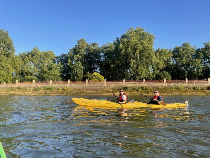 Tash and Cormac in their kayak